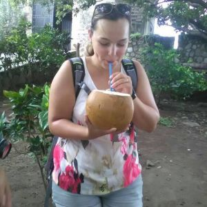 Drink from a coconut